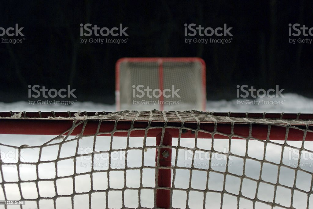 Backyard Night Hockey royalty-free stock photo