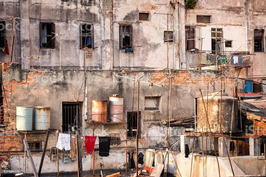 Backyard of a building, Havana, Cuba stock photo