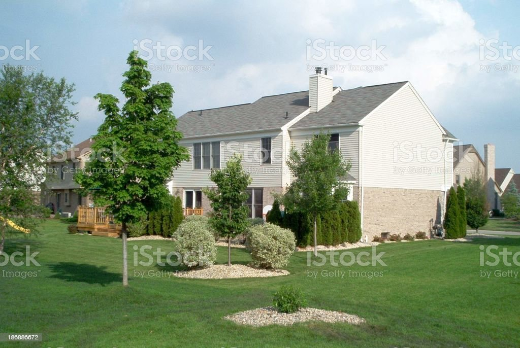 Backyard of a suburban house royalty-free stock photo