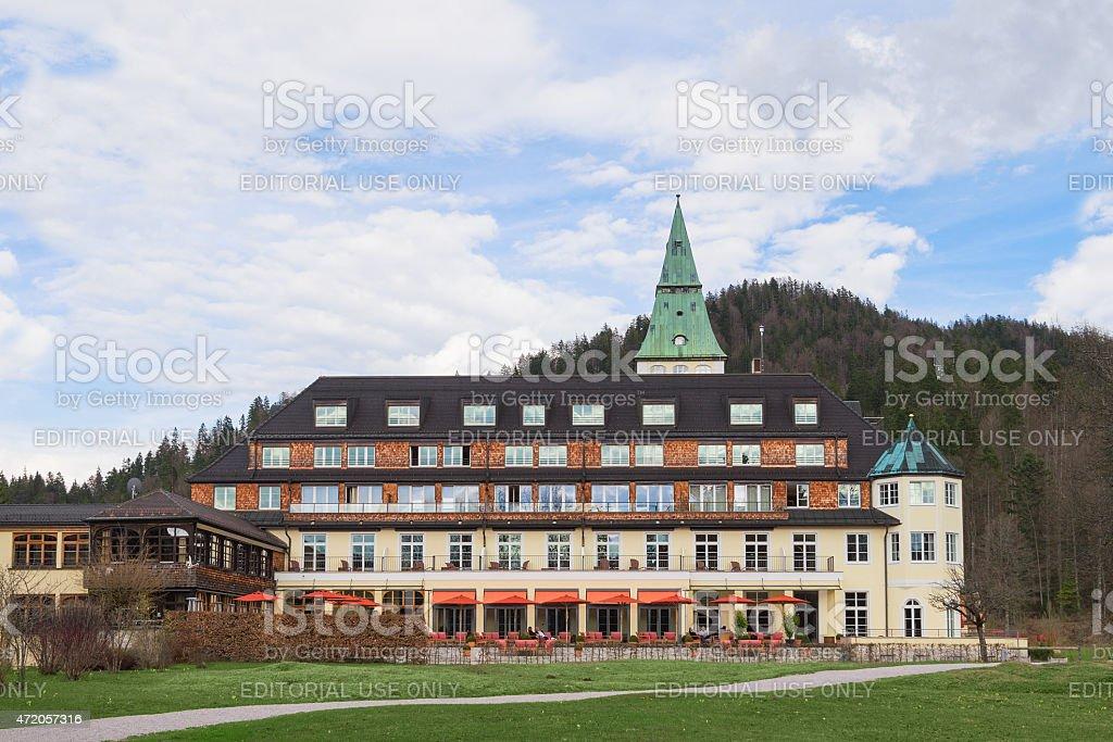Backyard of hotel Elmau Schloss summit G8 2015 stock photo