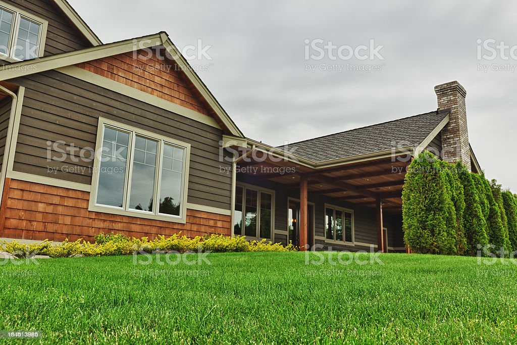 Backyard of Large Custom Home royalty-free stock photo