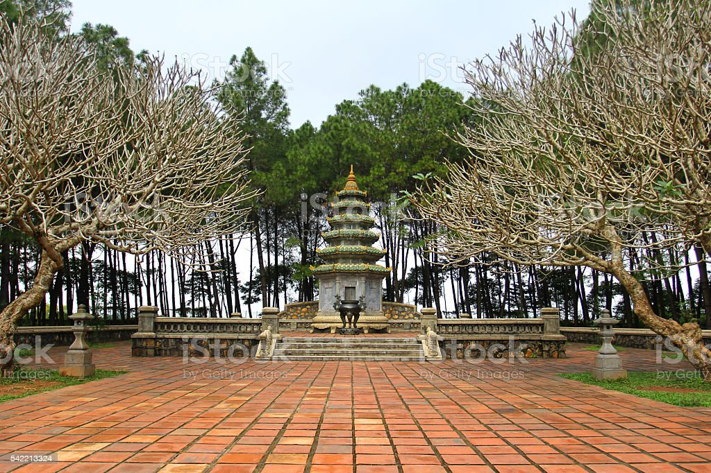 Backyard of Thien Mu Pagoda, an old Tomb of dying abbot stock photo