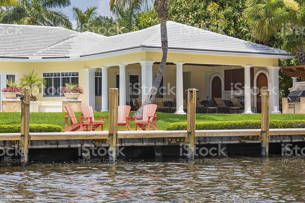 Backyard of waterfront home in Delray Beach, Florida stock photo