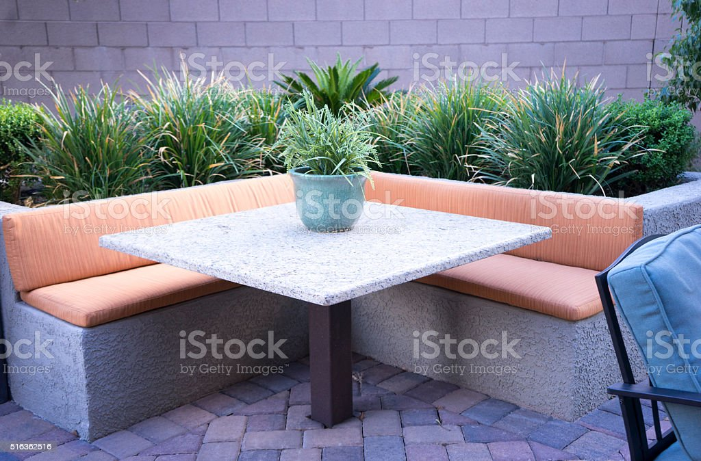backyard patio stock photo