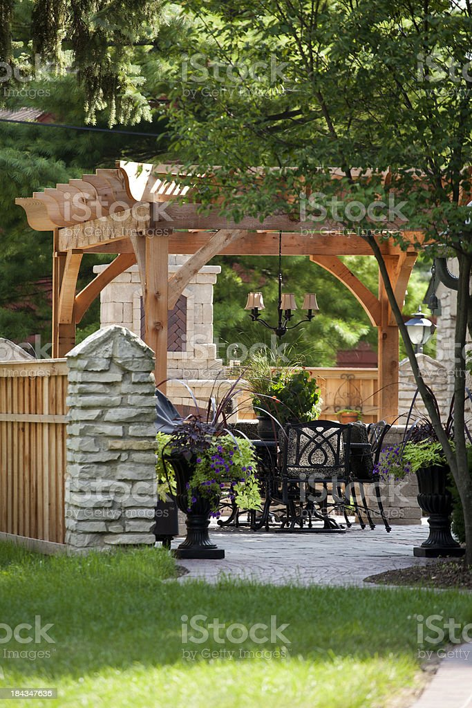 Backyard pergola stock photo