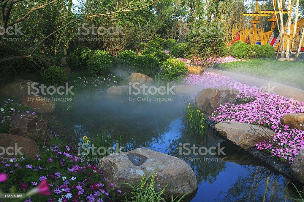 Backyard pond in the China garden stock photo