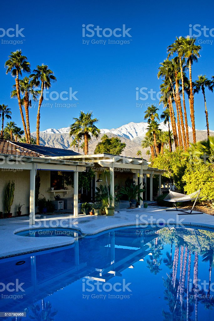Backyard pool, Palm Springs home in Winter, Southern California, USA stock photo