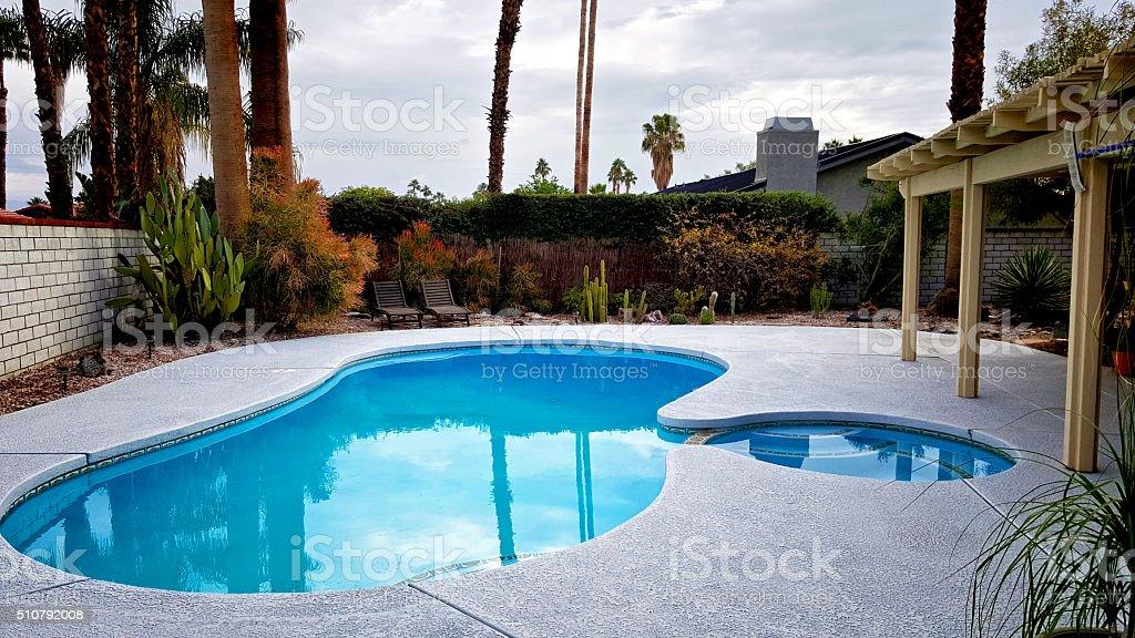 Backyard pool & patio, Palm Springs home, Southern California, USA stock photo