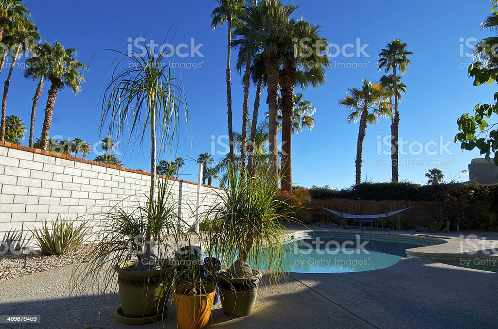 Backyard pool & patio, Palm Springs home,Southern California, USA royalty-free stock photo