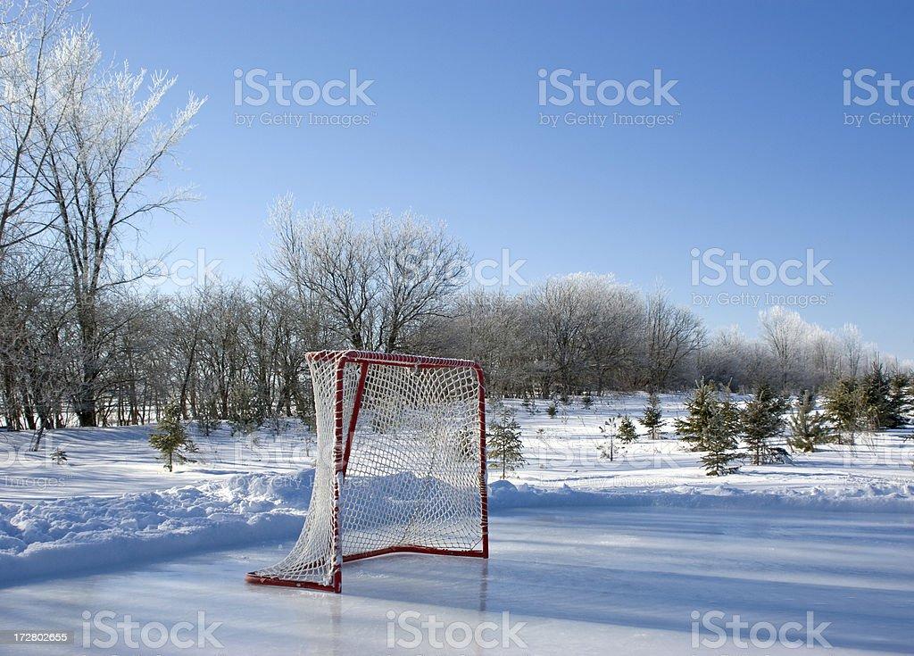Backyard Rink on Frosty Morning stock photo