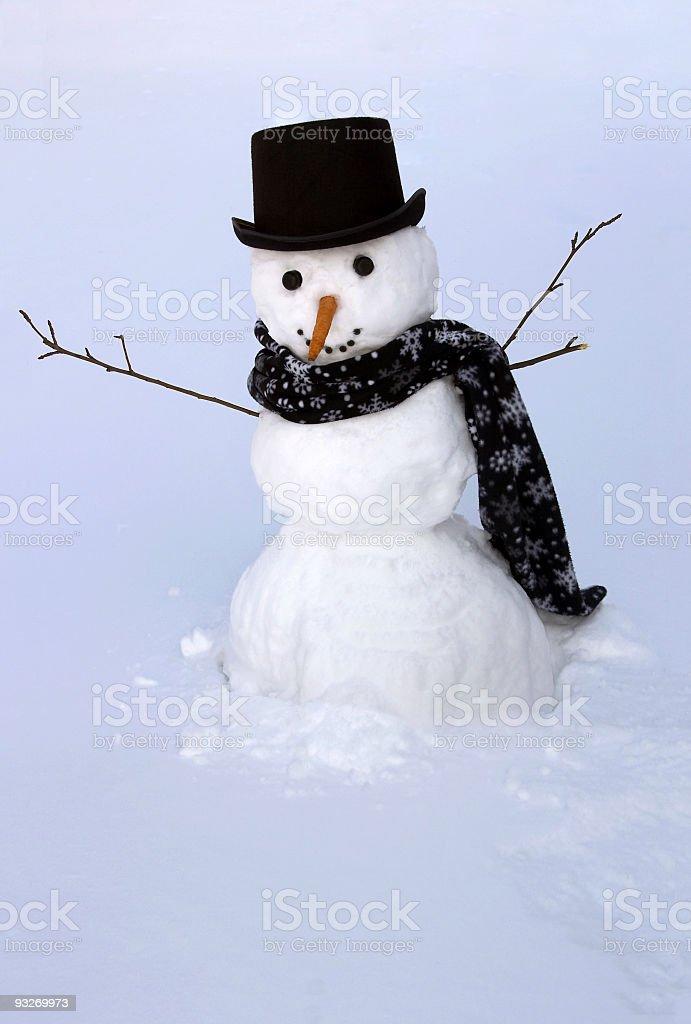 Backyard Snowman royalty-free stock photo
