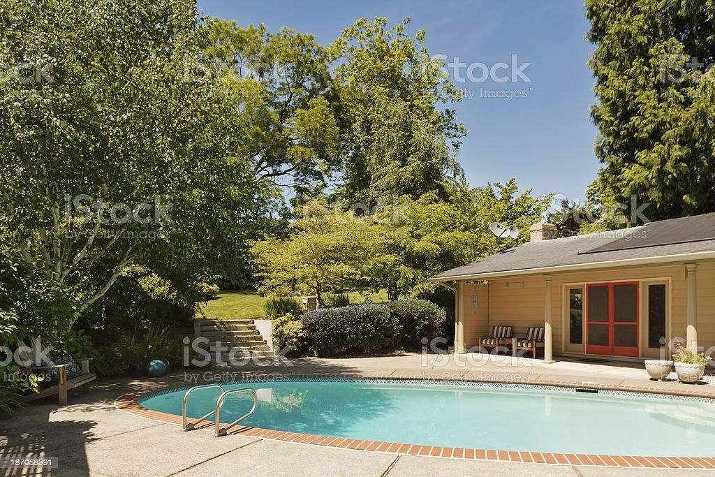 Backyard Swimming Pool royalty-free stock photo