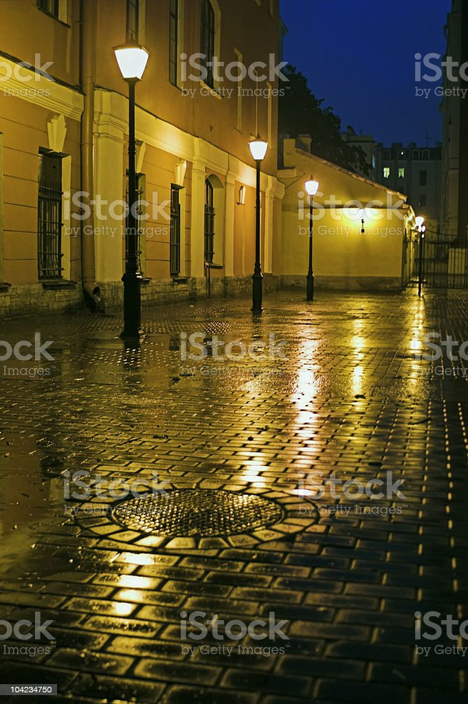 Backyard with street lamps royalty-free stock photo