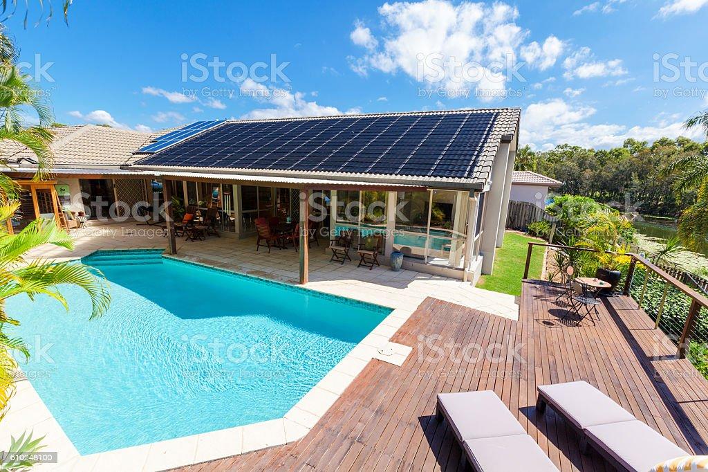 Backyard with swimming pool stock photo