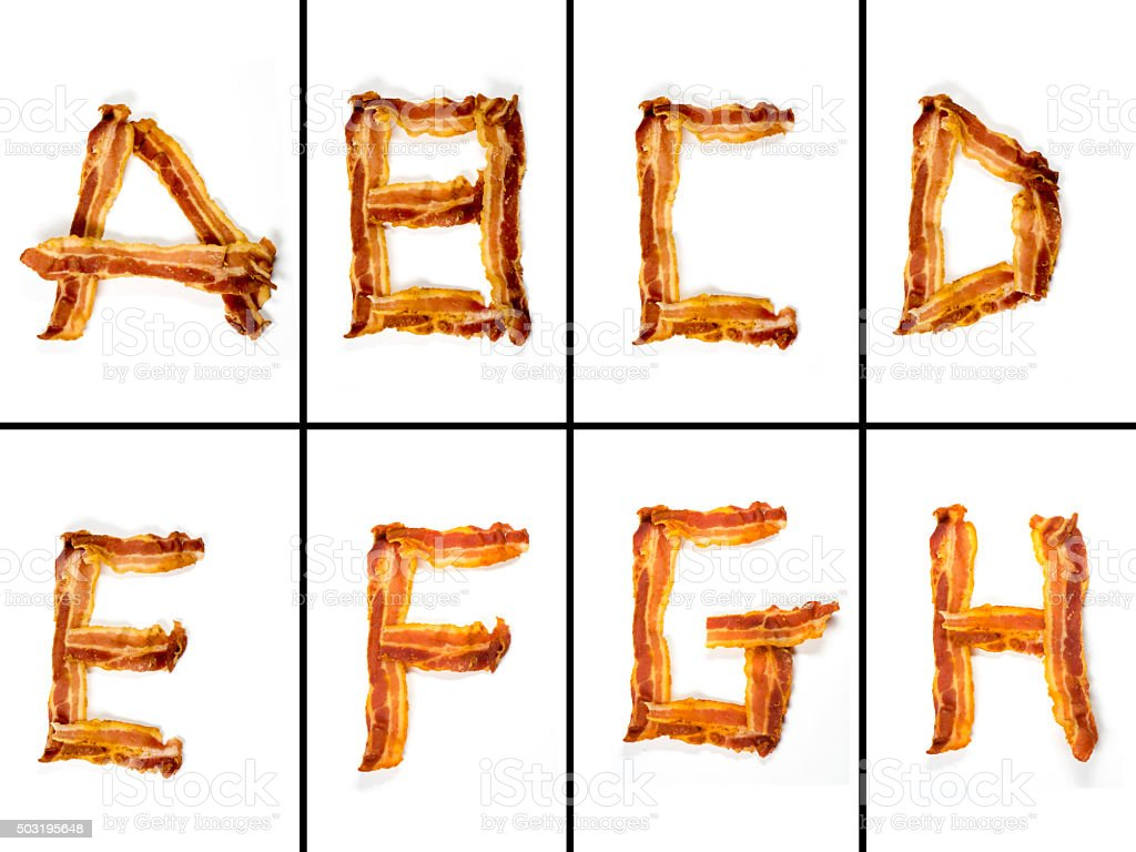 Bacon Alphabet XXXL stock photo