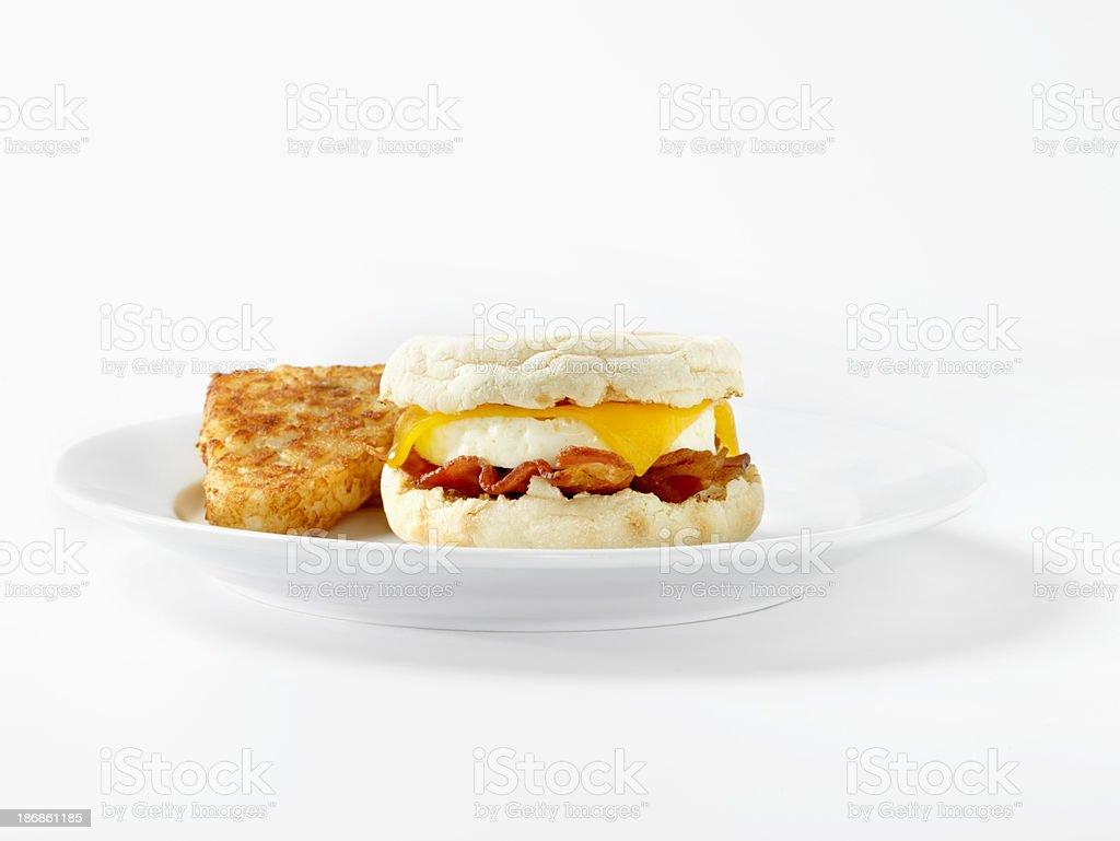 Bacon & Egg, English Muffin Breakfast Sandwich royalty-free stock photo