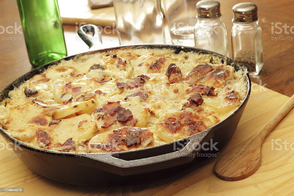 Bacon and Cheddar Scalloped Potatoes stock photo