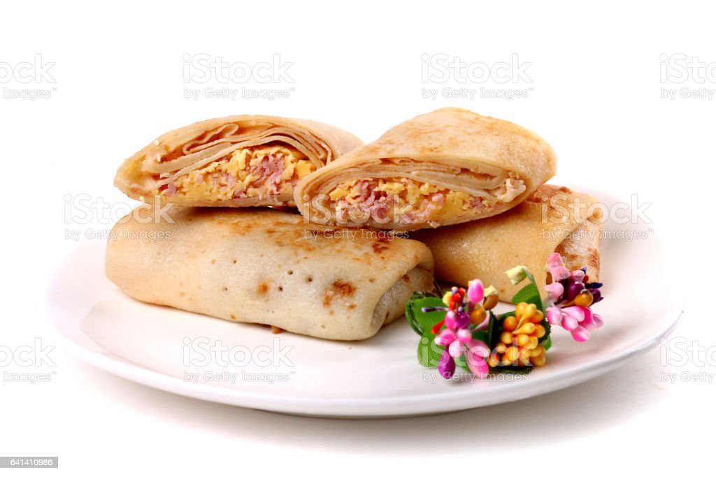 Bacon and cheese filled pancakes stock photo