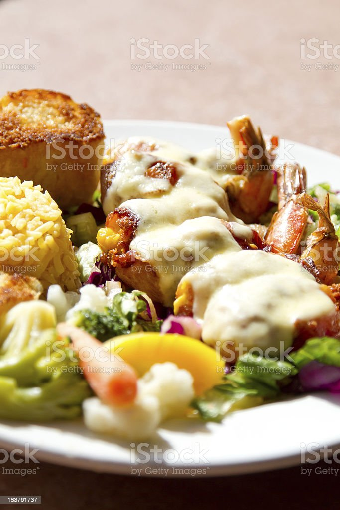 Bacon and cheese shrimp royalty-free stock photo