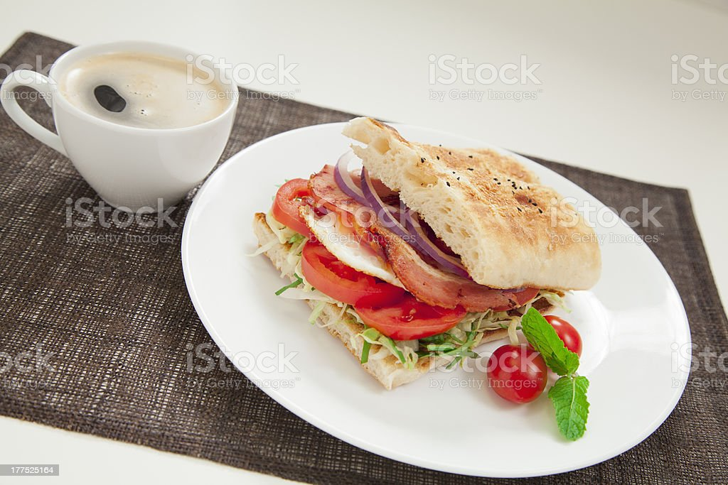 Bacon and egg burger royalty-free stock photo