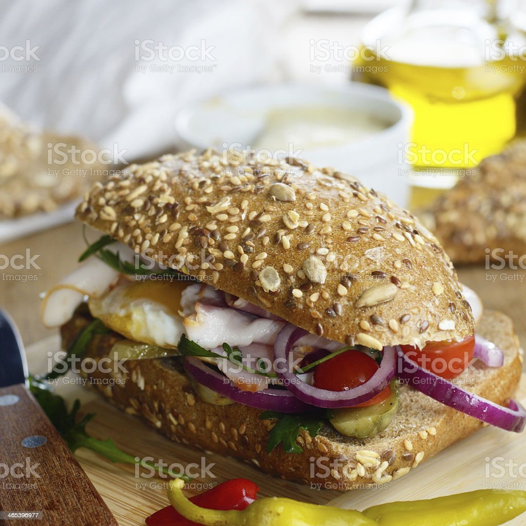 Bacon and fried eggs sandwich royalty-free stock photo