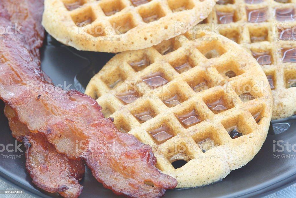 Bacon and Mini-Waffles stock photo