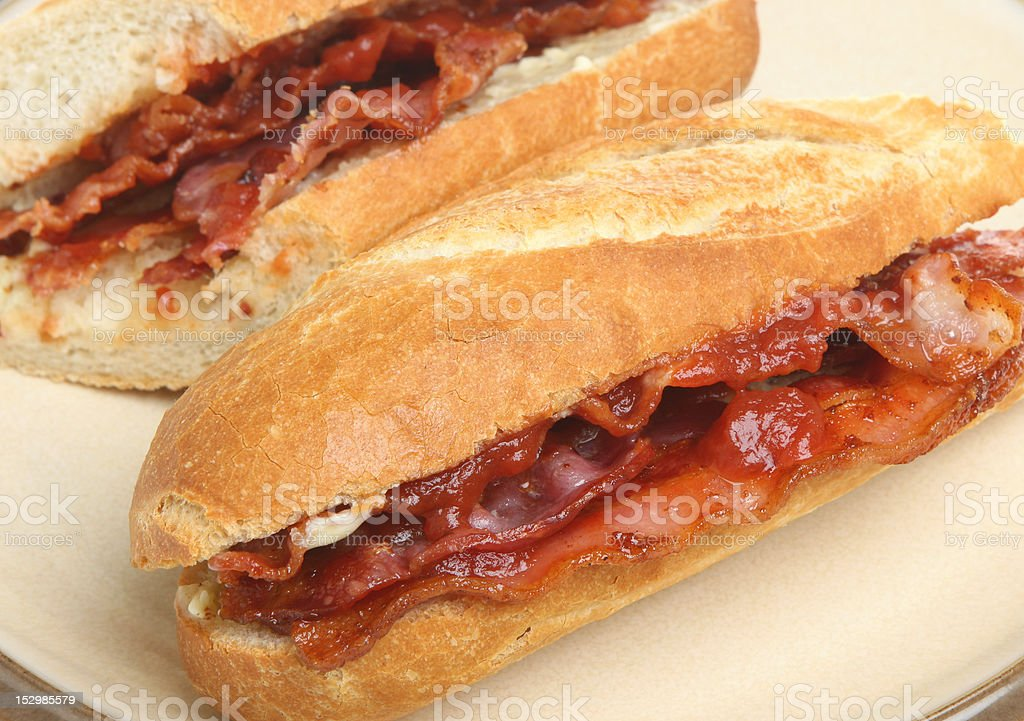 Bacon Baguette Roll royalty-free stock photo