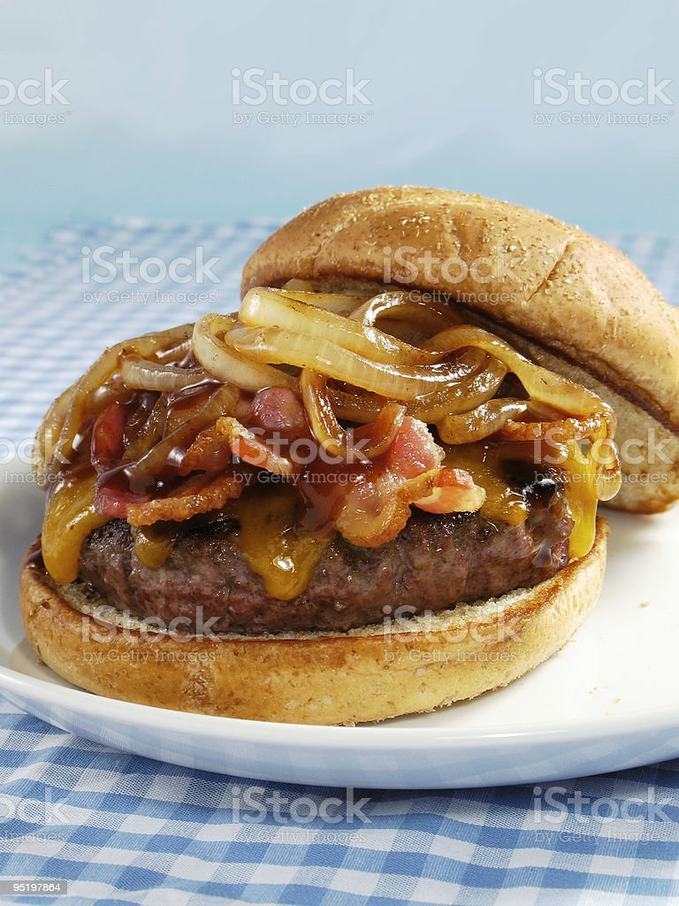 Bacon & BBQ Cheeseburger stock photo