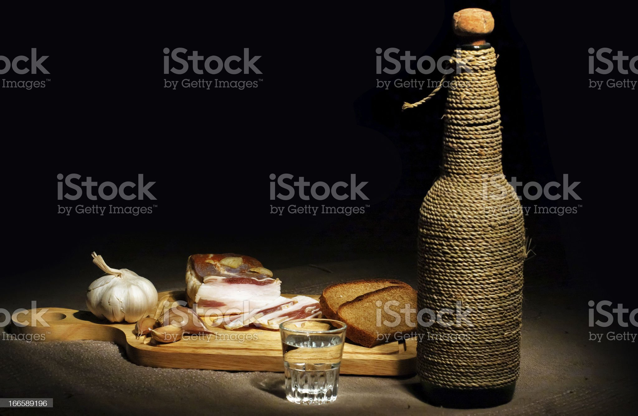 bacon, bread and vodka royalty-free stock photo