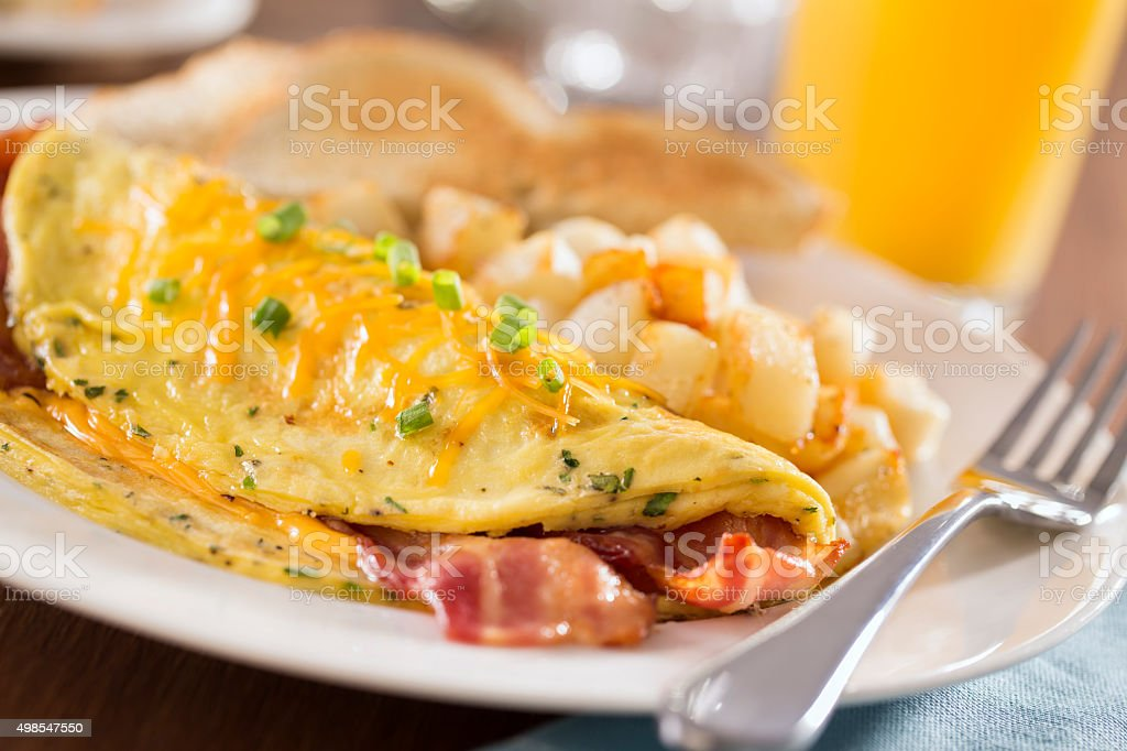 Bacon Cheddar Omelet stock photo