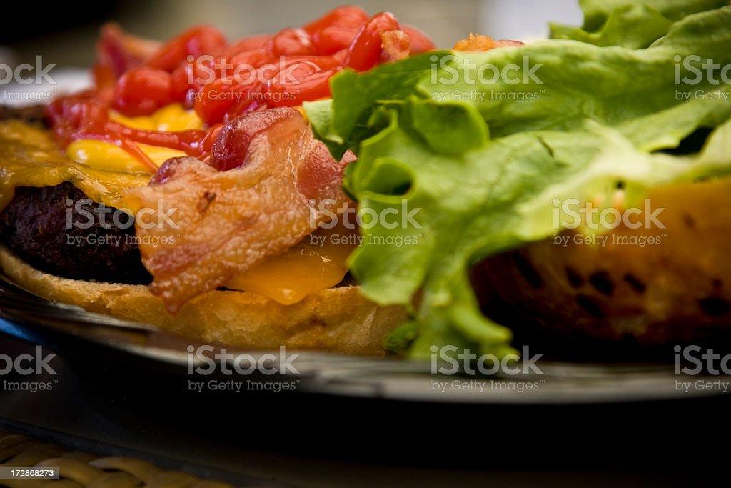 bacon cheeseburger stock photo