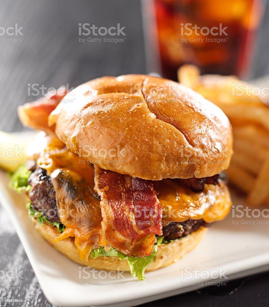 Bacon cheeseburger shot with selective focus stock photo