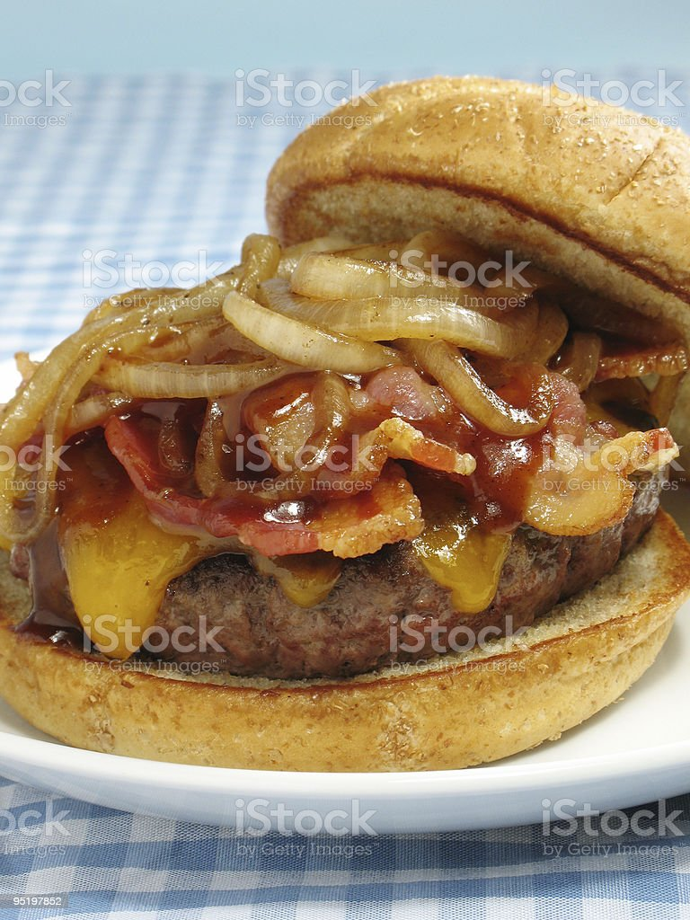 Bacon Cheeseburger With BBQ Sauce stock photo