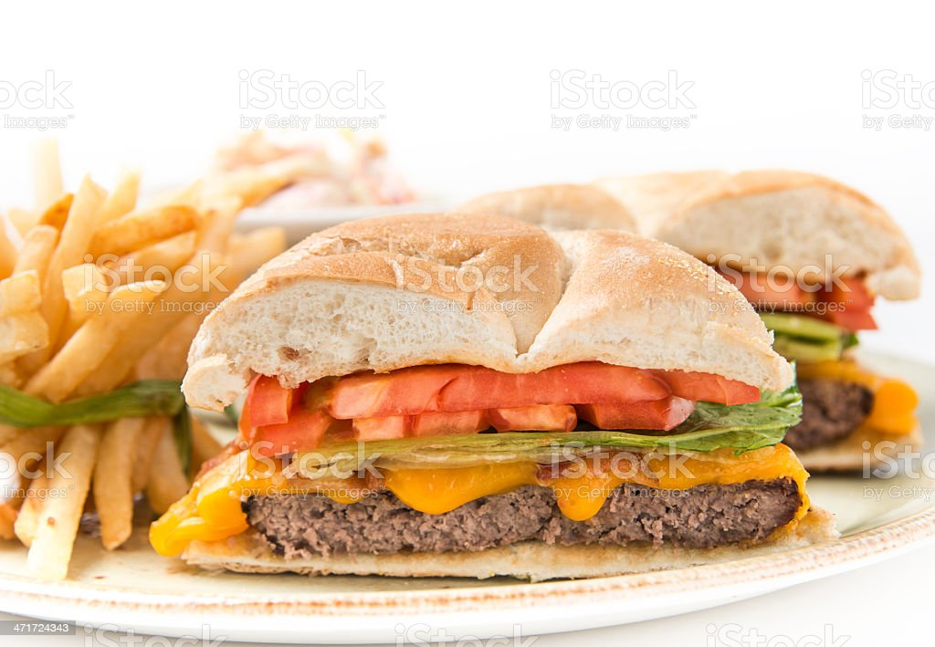 Bacon cheeseburger with fries royalty-free stock photo