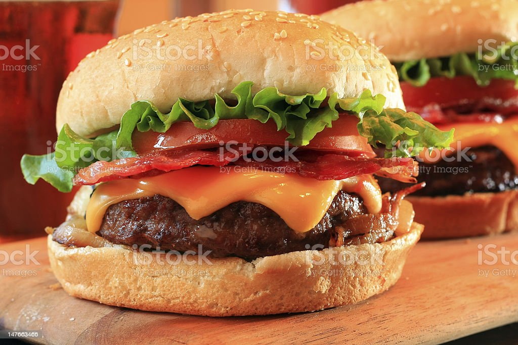 Bacon Cheeseburgers royalty-free stock photo