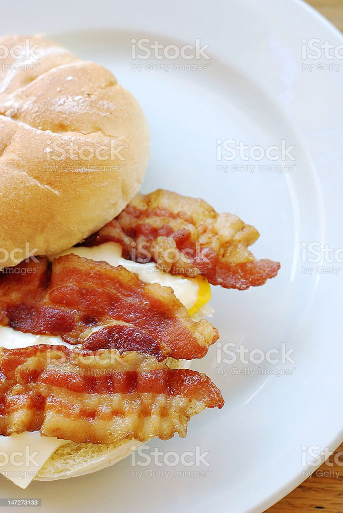 Bacon, egg, and cheese breakfast sandwich royalty-free stock photo