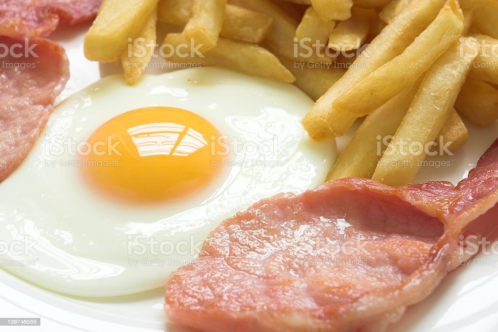 Bacon, egg and chips royalty-free stock photo