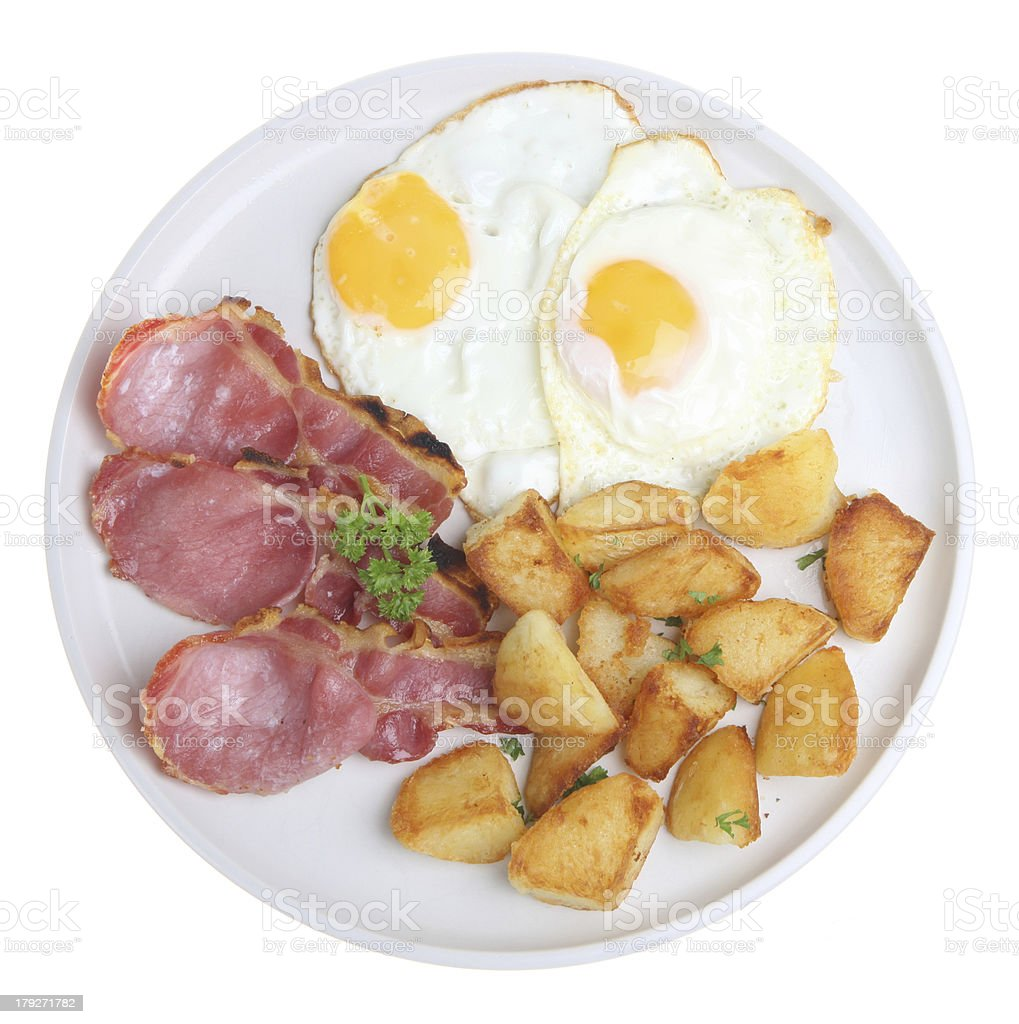 Bacon, Egg and Fried Potatoes stock photo
