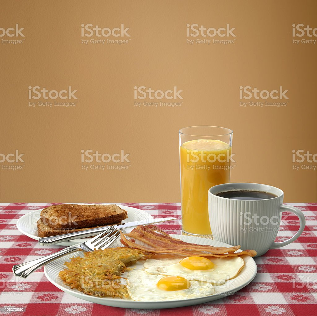 Bacon, Eggs and Toast Breakfast with Coffee royalty-free stock photo