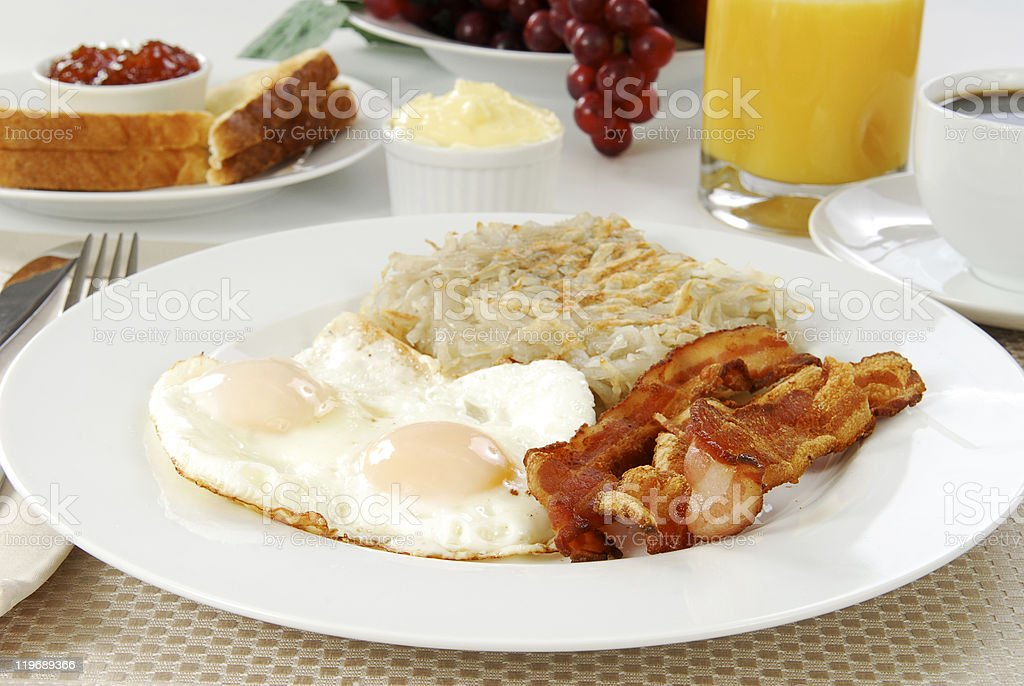 Bacon eggs and toast stock photo