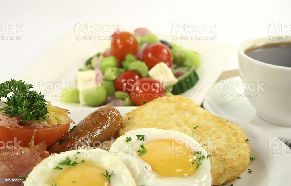 bacon eggs, sausages, tomato, hash browns, royalty-free stock photo