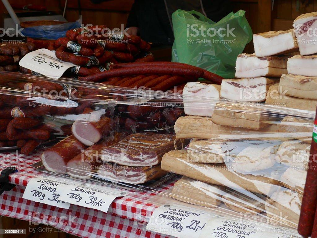 Bacon ham and sausage stock photo