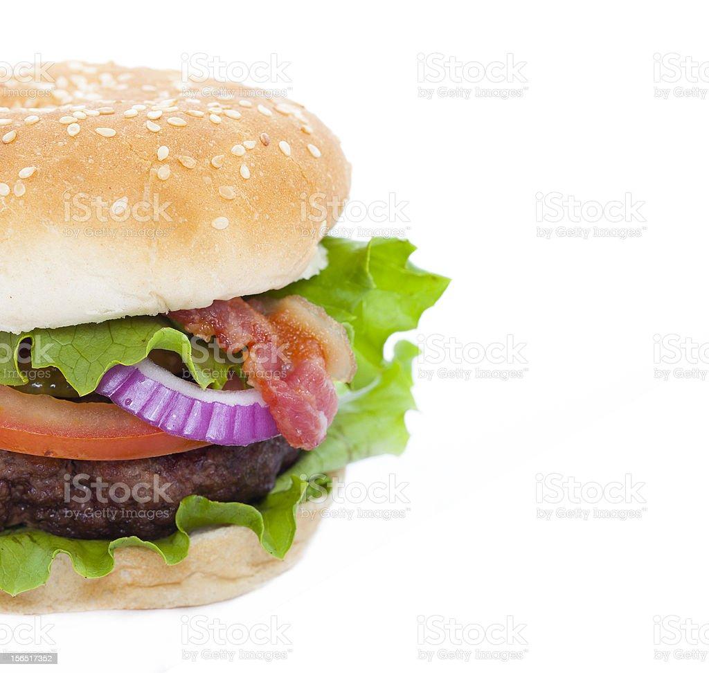 Bacon Hamburger isolated on white royalty-free stock photo