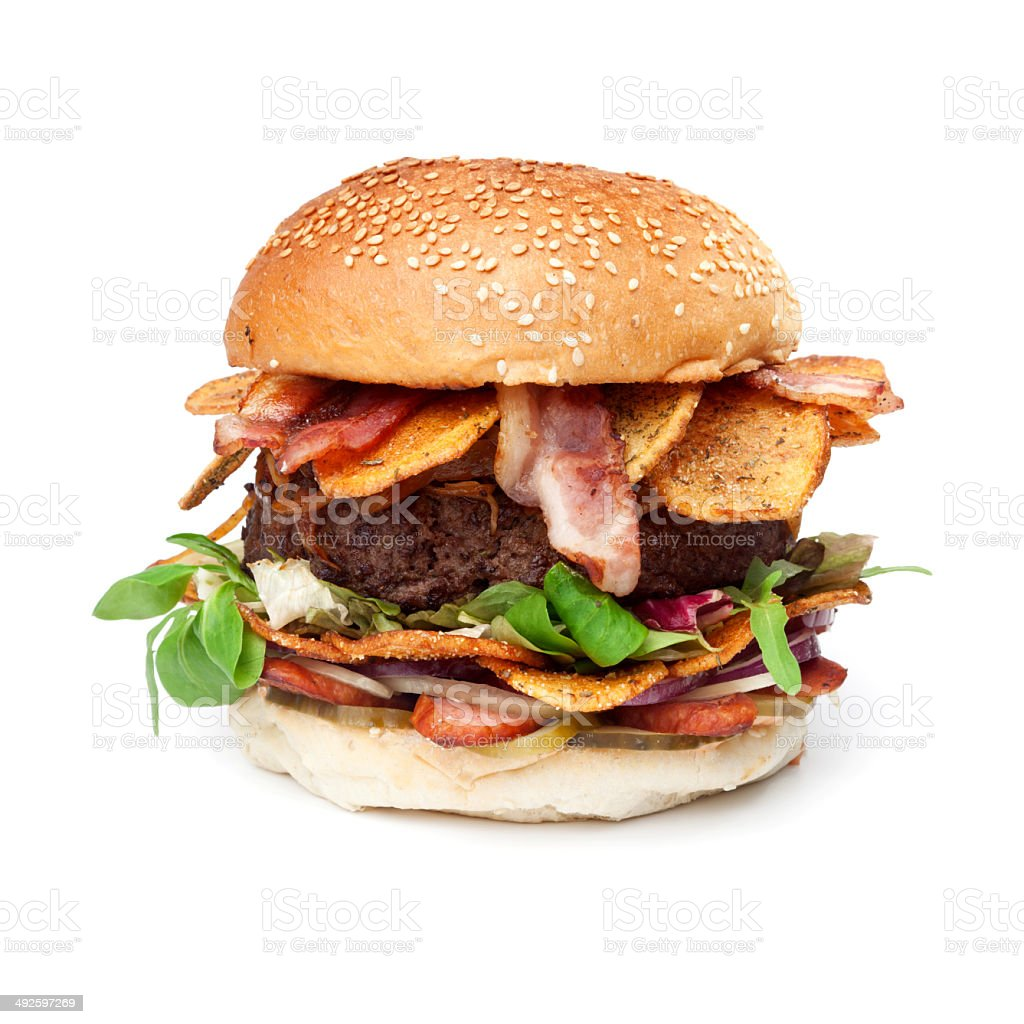 Bacon Hamburger - Isolated stock photo