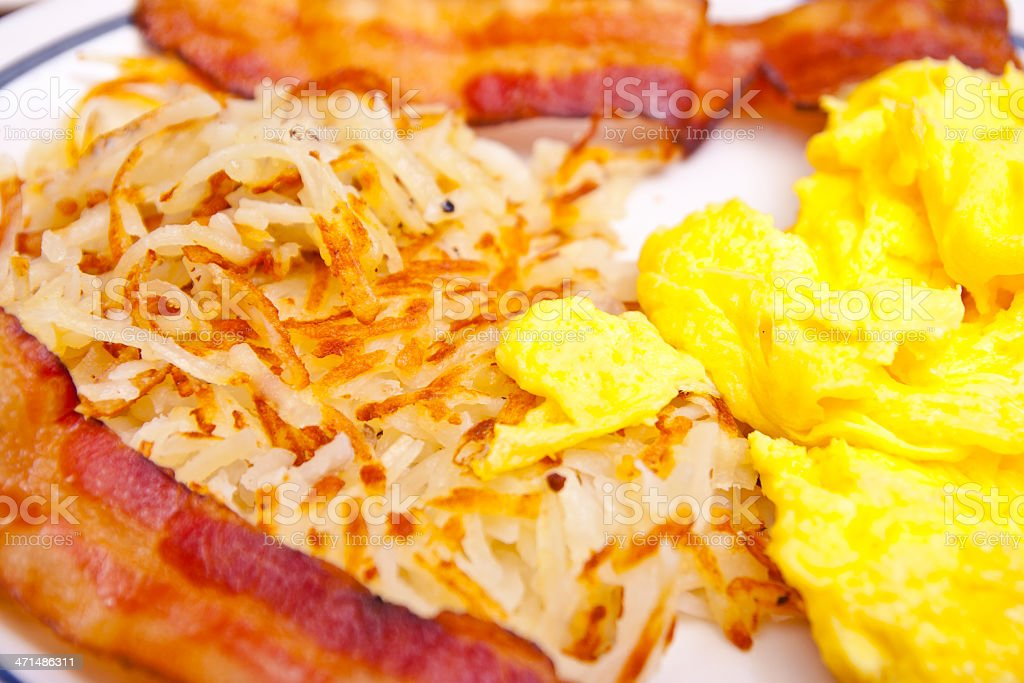 Bacon Hash Browns and Scrambled Eggs royalty-free stock photo