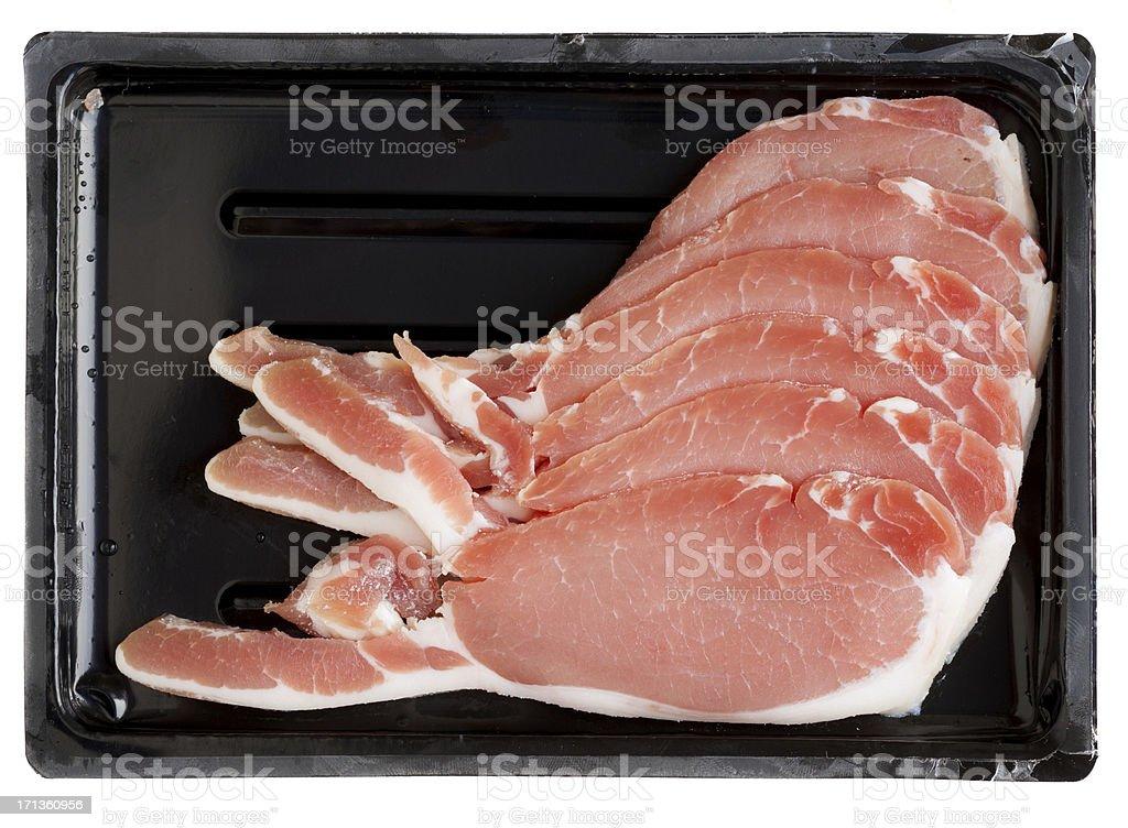 Bacon in plastic tray royalty-free stock photo