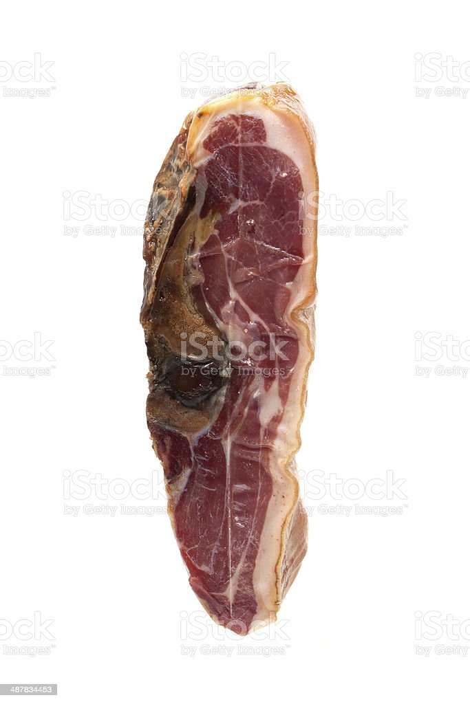 Bacon isolated on white background stock photo