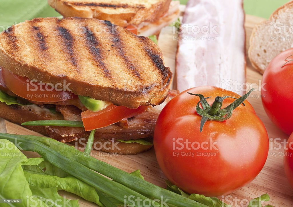 Bacon, lettuce and tomato BLT sandwiches royalty-free stock photo