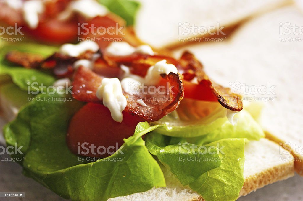 Bacon Lettuce and tomato preparation royalty-free stock photo
