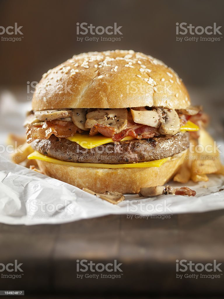 Bacon Mushroom Cheeseburger stock photo